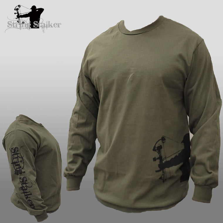String Stalker Bow Hunter Hip-Sleeve Long Sleeve T Shirt Army Green