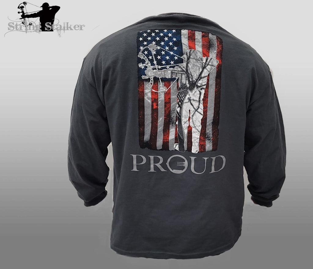 String Stalker Proud American Bow Hunter Long Sleeve Shirt - Charcoal