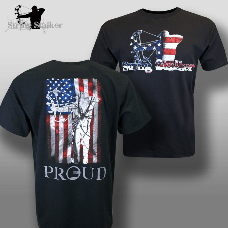 String Stalker Proud American Bow Hunter T Shirt - String Stalker