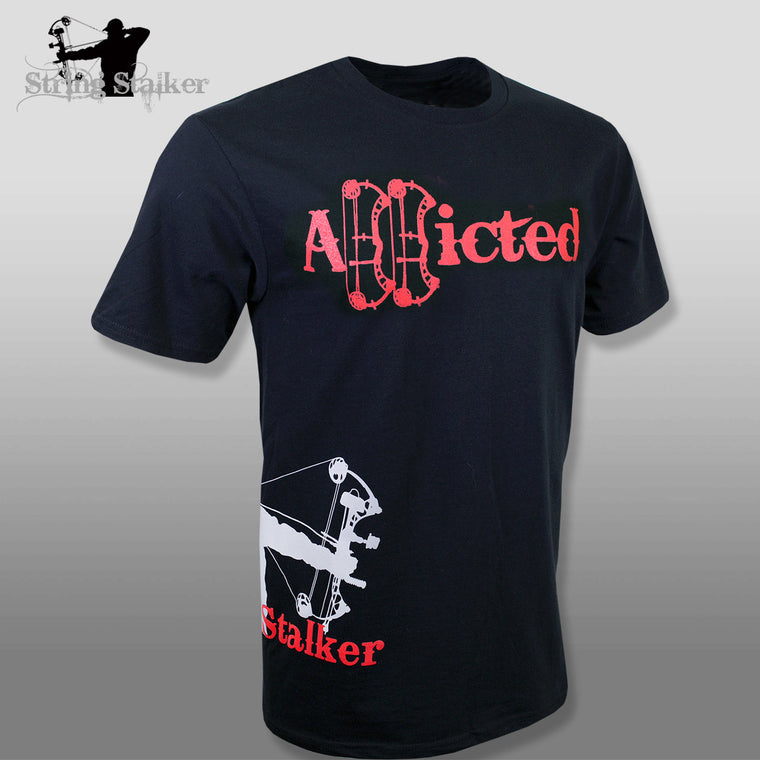 String Stalker Bow Hunting Addicted Short Sleeve T Shirt - Black - String Stalker