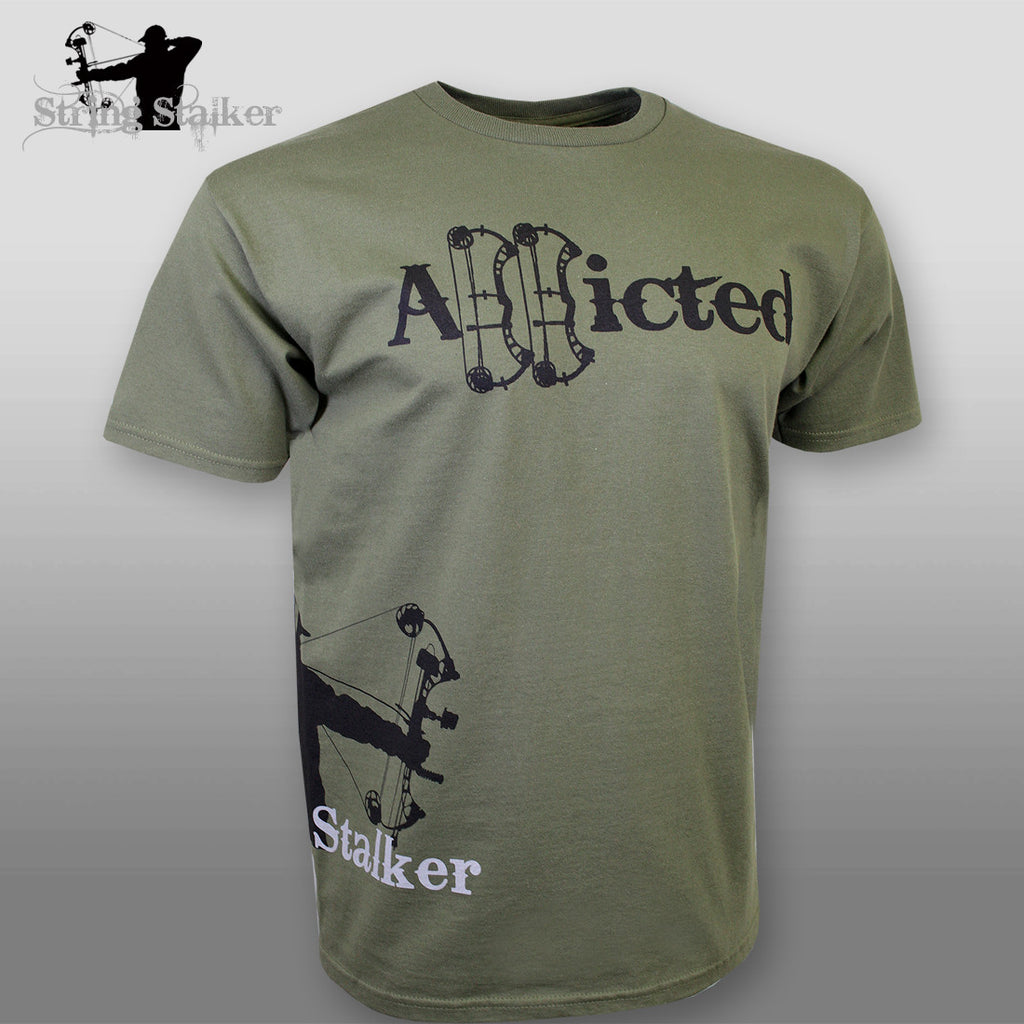String Stalker Bow Hunting Addicted Short Sleeve T Shirt - Green - String Stalker