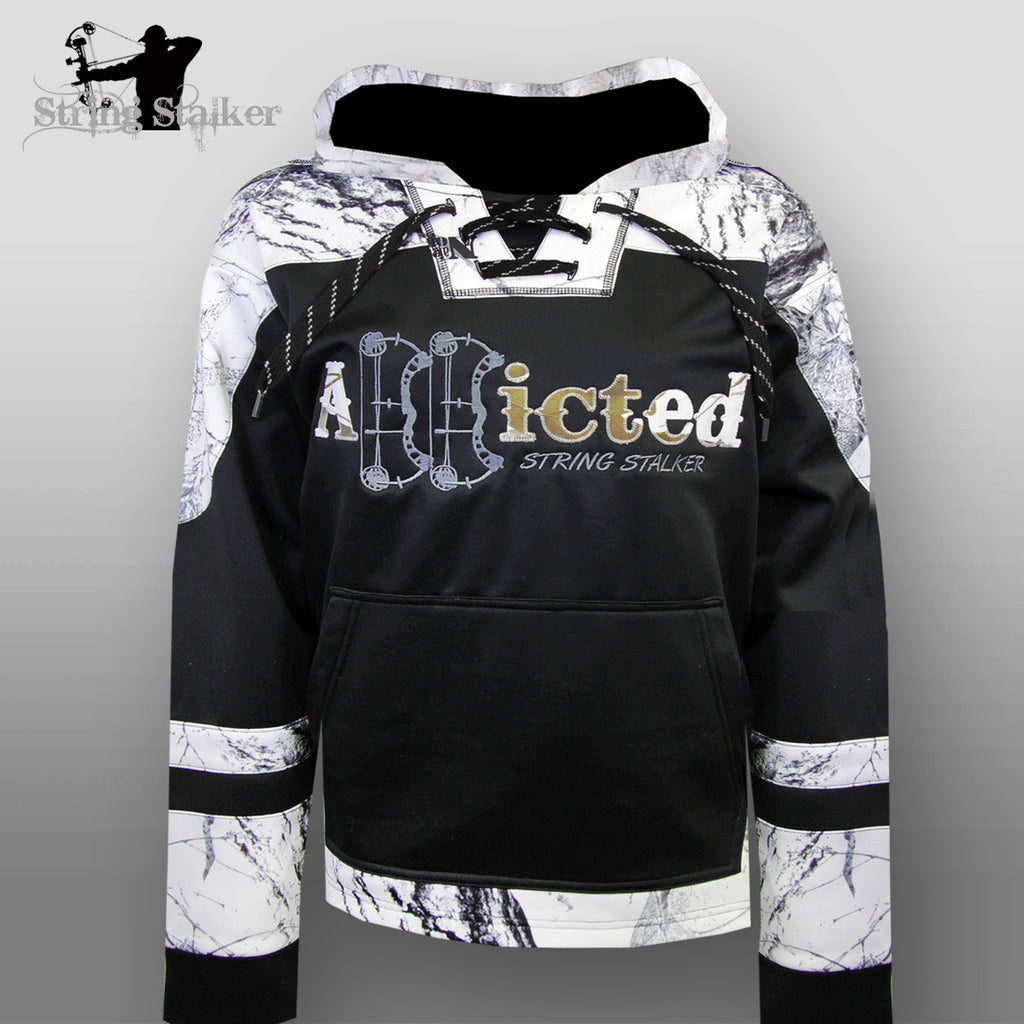 String Stalker Bow Hunting Snow Camo Addicted Hockey Hoodie - String Stalker