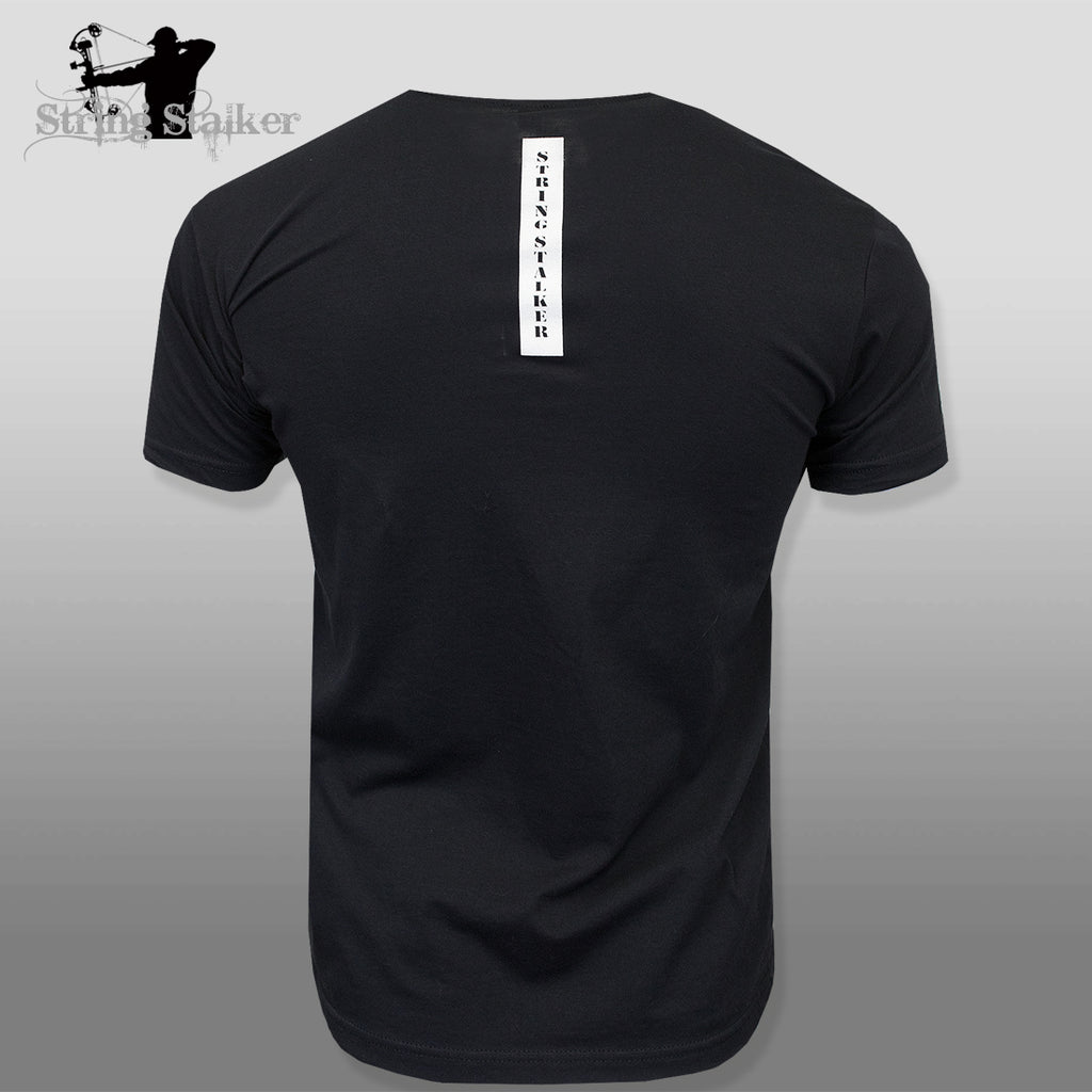 String Stalker Bow Hunting Distressed Site Logo Short Sleeve Super Soft T Shirt - Black - String Stalker