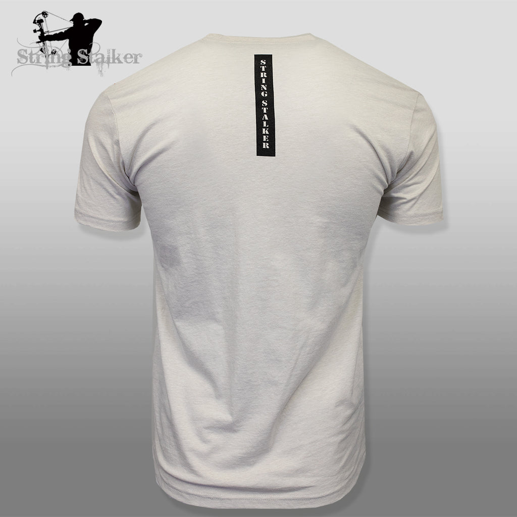 String Stalker Bow Hunting Distressed Site Logo Short Sleeve Super Soft T Shirt - Sand - String Stalker