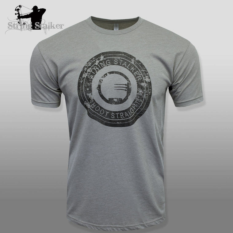 String Stalker Bow Hunting Distressed Site Logo Short Sleeve Super Soft T Shirt - Warm Gray - String Stalker