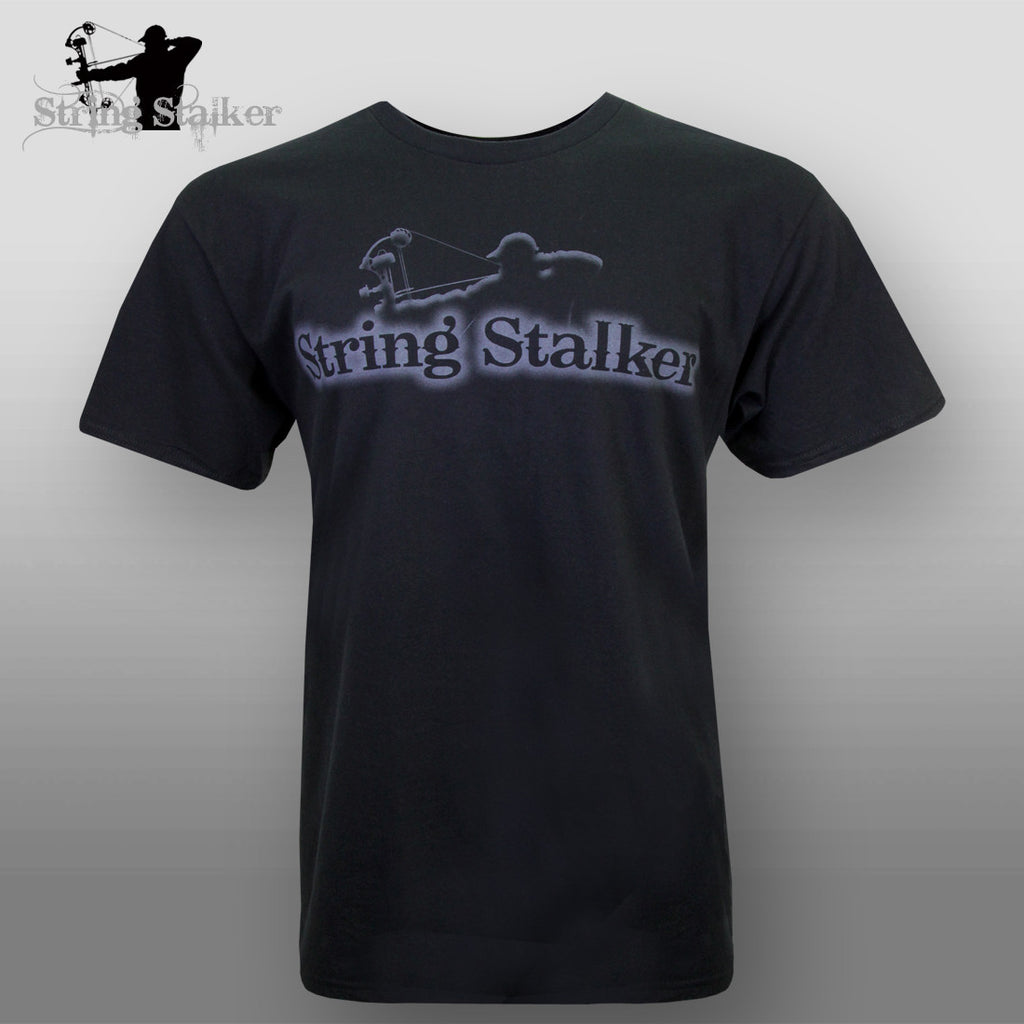 String Stalker Bow Hunting Ghost Logo TShirt - Black - String Stalker