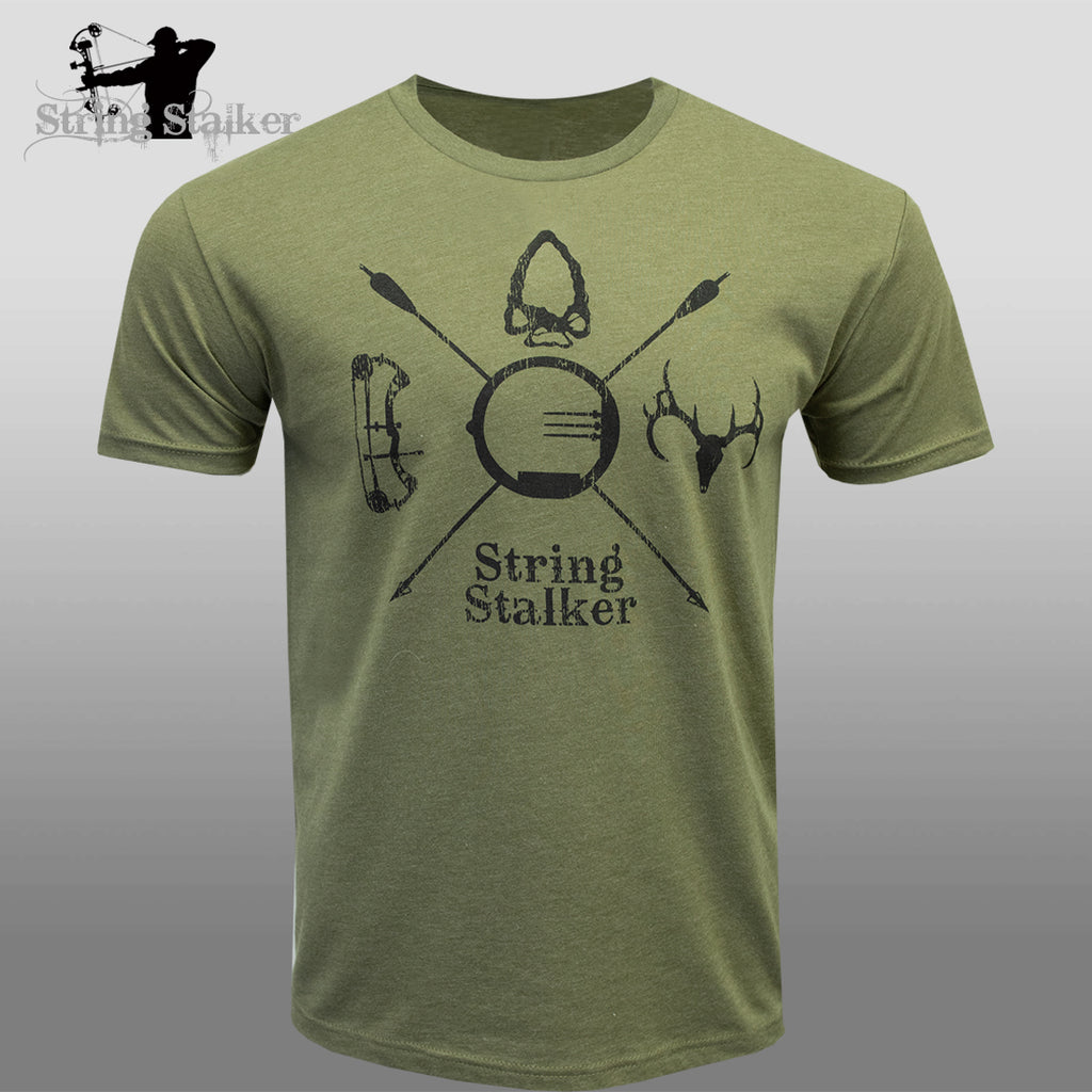 String Stalker Bow Hunting Crest Short Sleeve Super Soft T Shirt - Green
