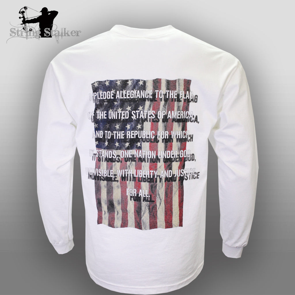 String Stalker Pledge of Allegiance Long Sleeve T Shirt White