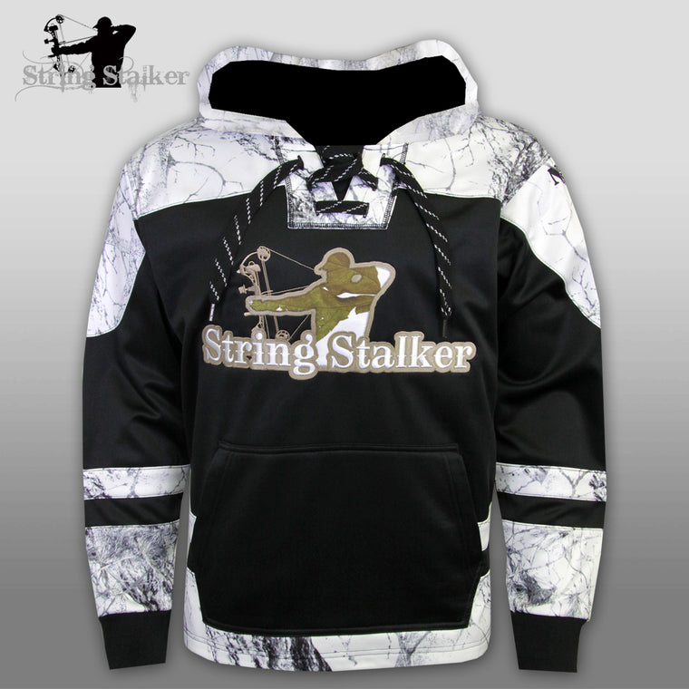 String Stalker Bow Hunting Snow Camo Hockey Hoodie