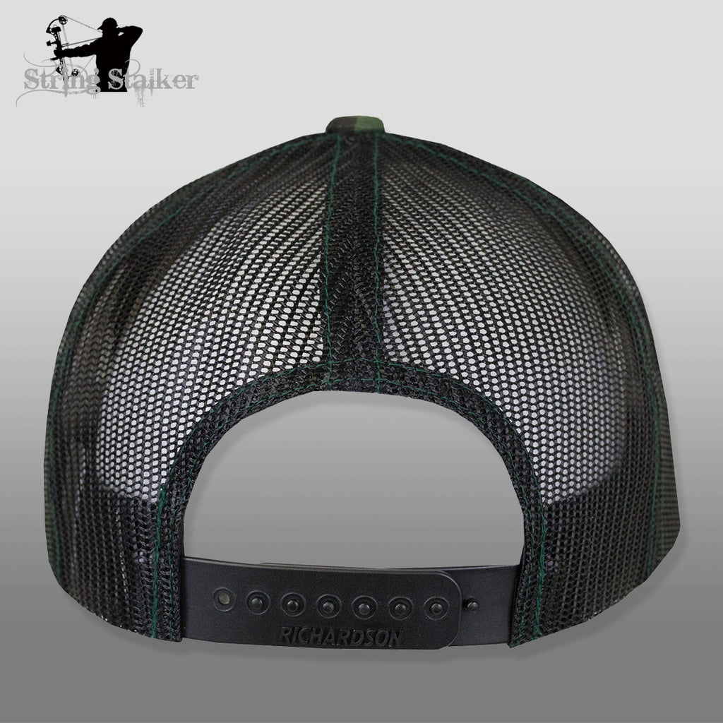 String Stalker Mesh Bowhunting Hat - Camo & Black Back - Leather Patch Trucker