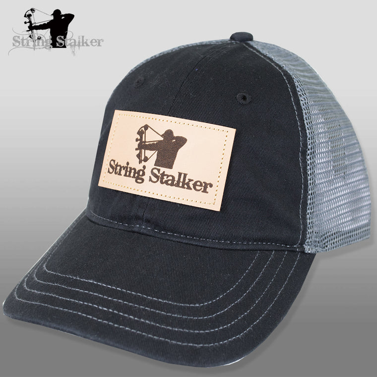 String Stalker Mesh Bowhunting Hat - Leather Patch Trucker - Black - String Stalker