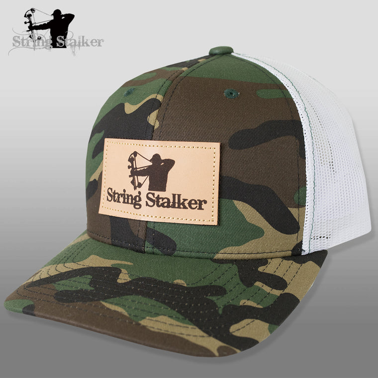 String Stalker Mesh Bowhunting Hat - Leather Patch Trucker - Camo - String Stalker
