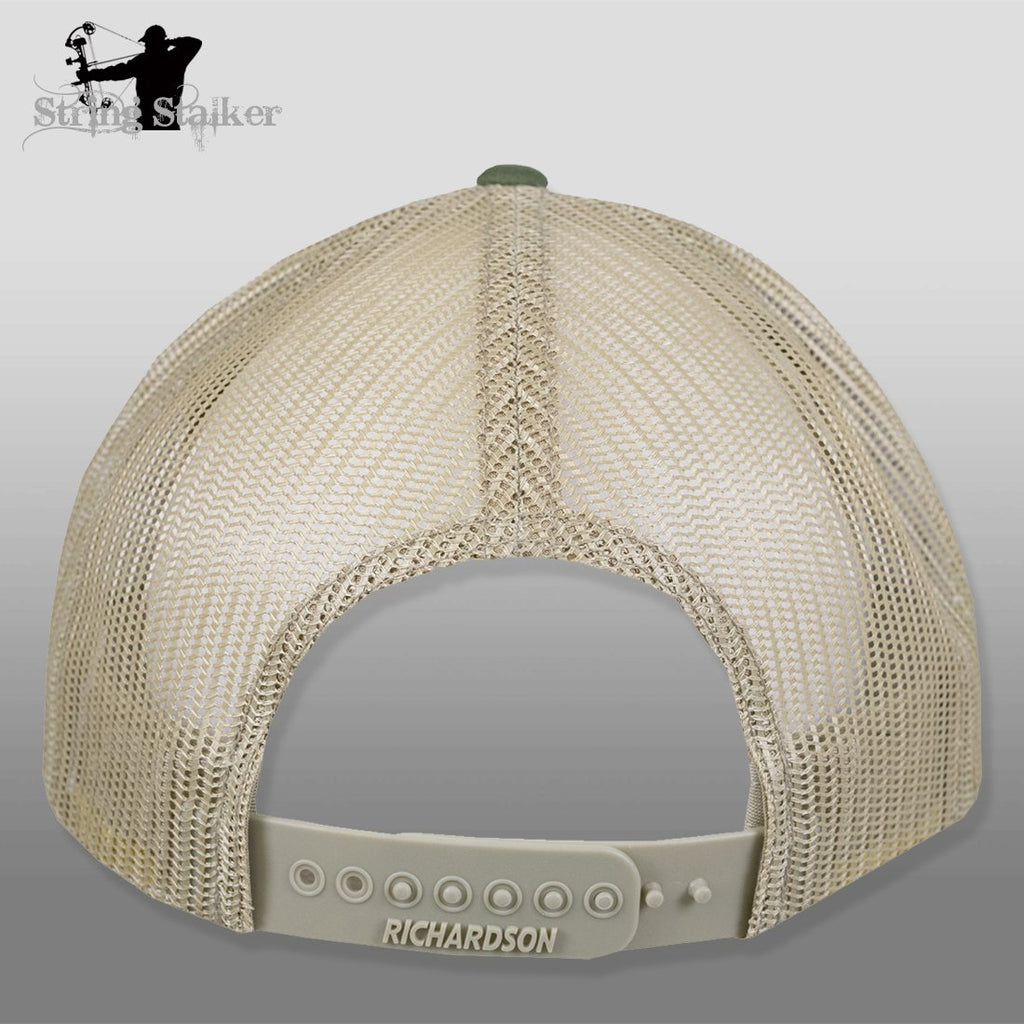 String Stalker Mesh Bowhunting Hat - Woven Patch Trucker - Army Olive/Tan - String Stalker