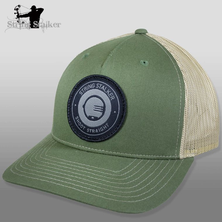 String Stalker Mesh Bowhunting Hat - Woven Patch Trucker - Army Olive/Tan