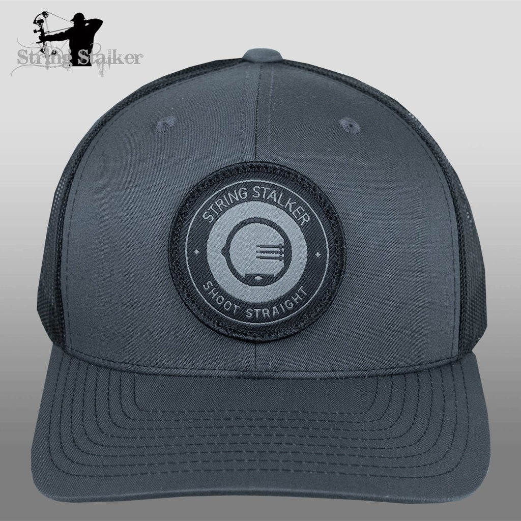 String Stalker Mesh Bowhunting Hat - Woven Patch Trucker - Charcoal/Black