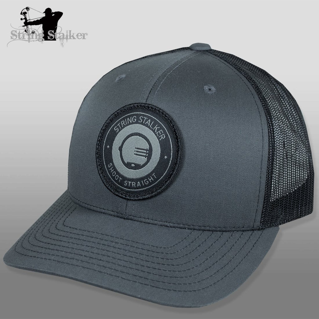 String Stalker Mesh Bowhunting Hat - Woven Patch Trucker - Charcoal/Black - String Stalker