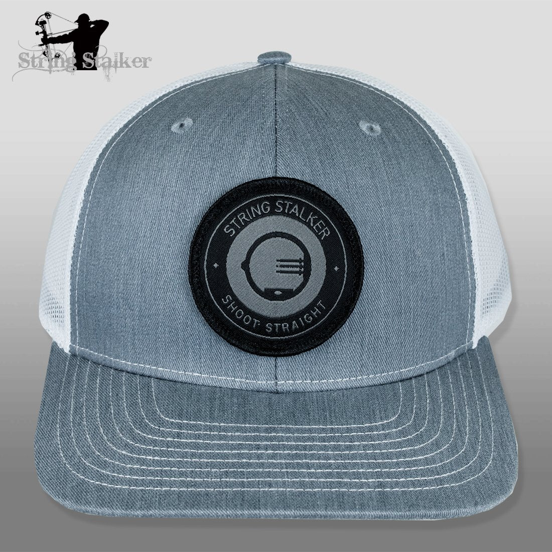 20bd95649f0d7 String Stalker Mesh Bowhunting Hat - Woven Patch Trucker - Heather Grey  White