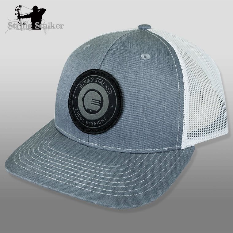 String Stalker Mesh Bowhunting Hat - Woven Patch Trucker - Heather Grey/White