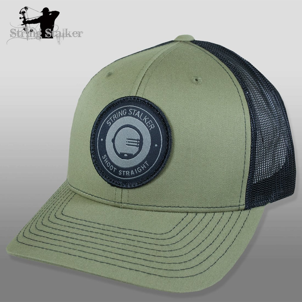 String Stalker Mesh Bowhunting Hat - Woven Patch Trucker - Loden/Black - String Stalker