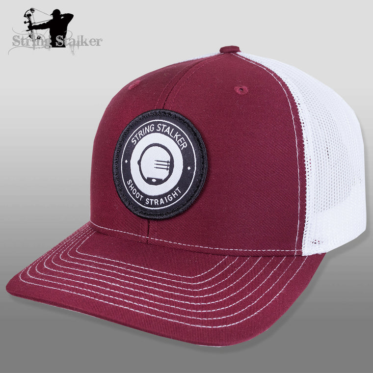 String Stalker Mesh Bowhunting Hat - Woven Patch Trucker - Maroon - String Stalker