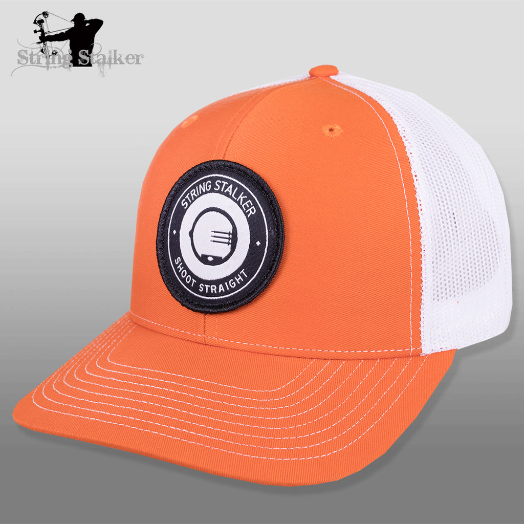 String Stalker Mesh Bowhunting Hat - Woven Patch Trucker - Orange - String Stalker