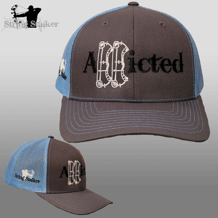 NEW Addicted Trucker Hat Grey/Columbia Blue