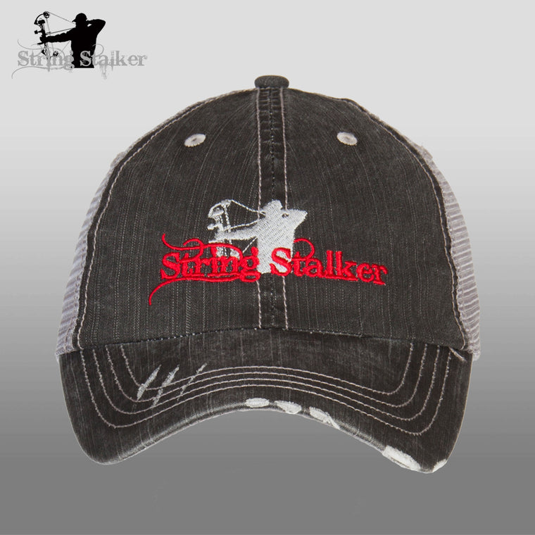 Black With Red String Stalker Mesh Bowhunting Lifestyle Hat - String Stalker