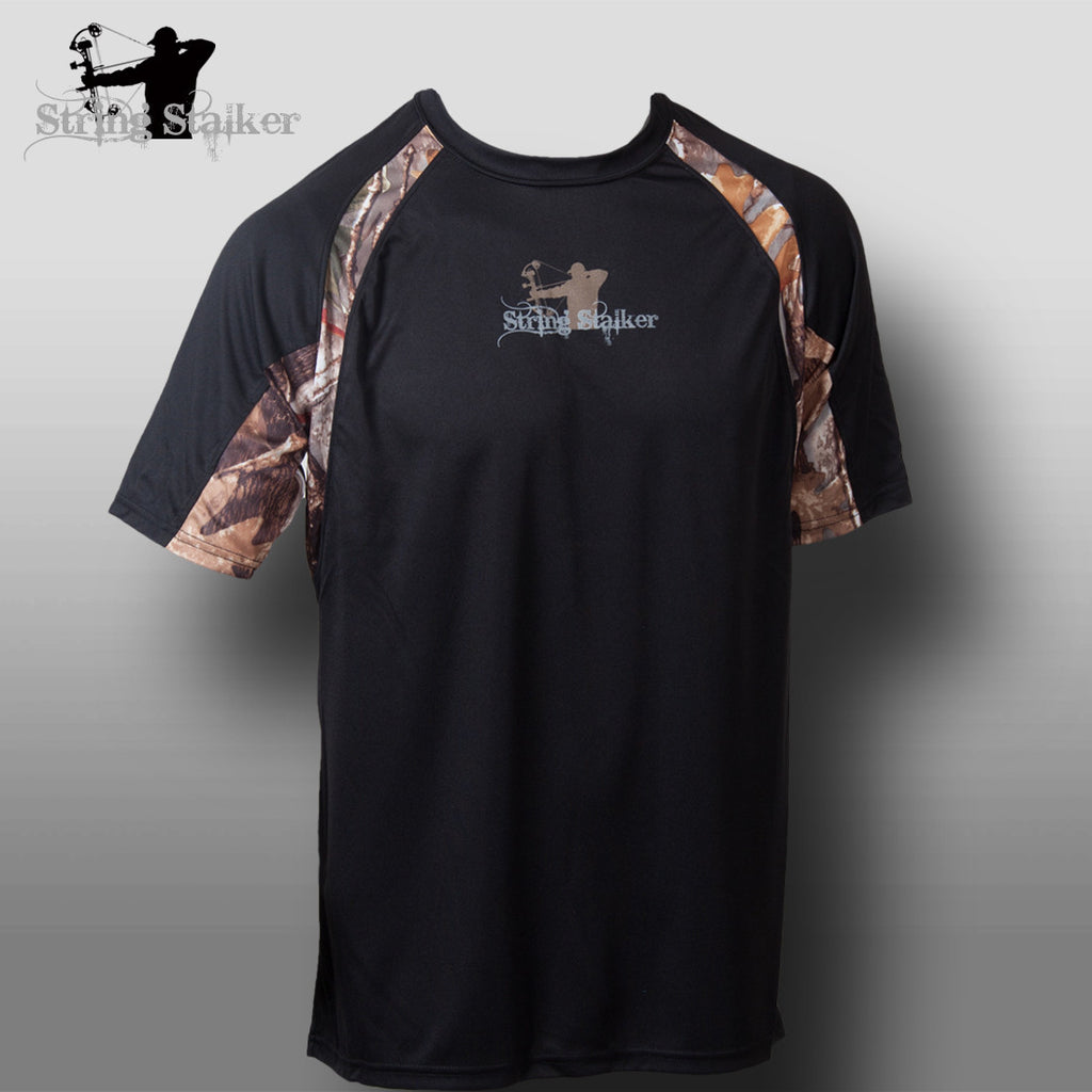 String Stalker Bow Hunting Pursuit Camo Accent Shirt - Black - String Stalker