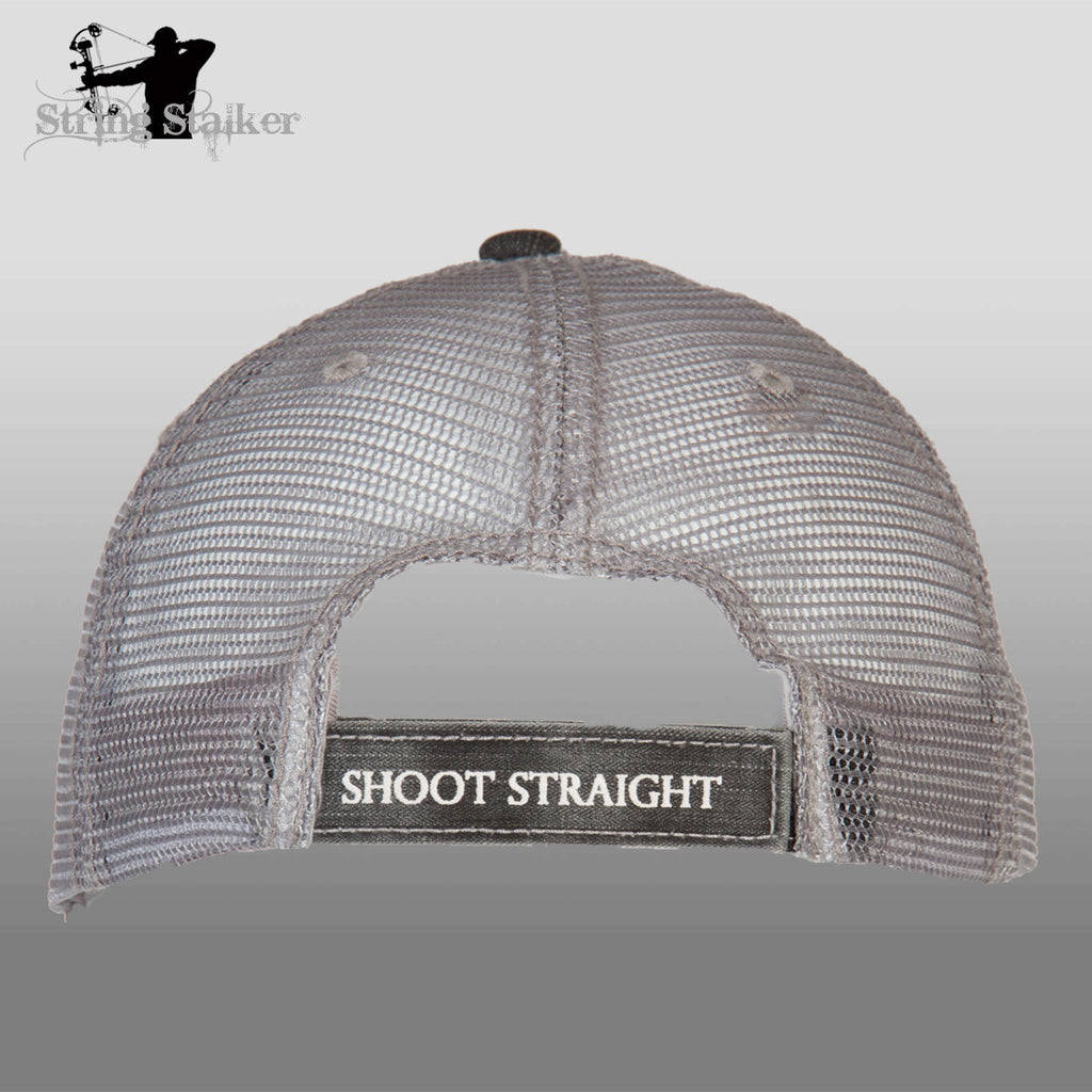 Black With White String Stalker Mesh Bowhunting Lifestyle Hat - String Stalker