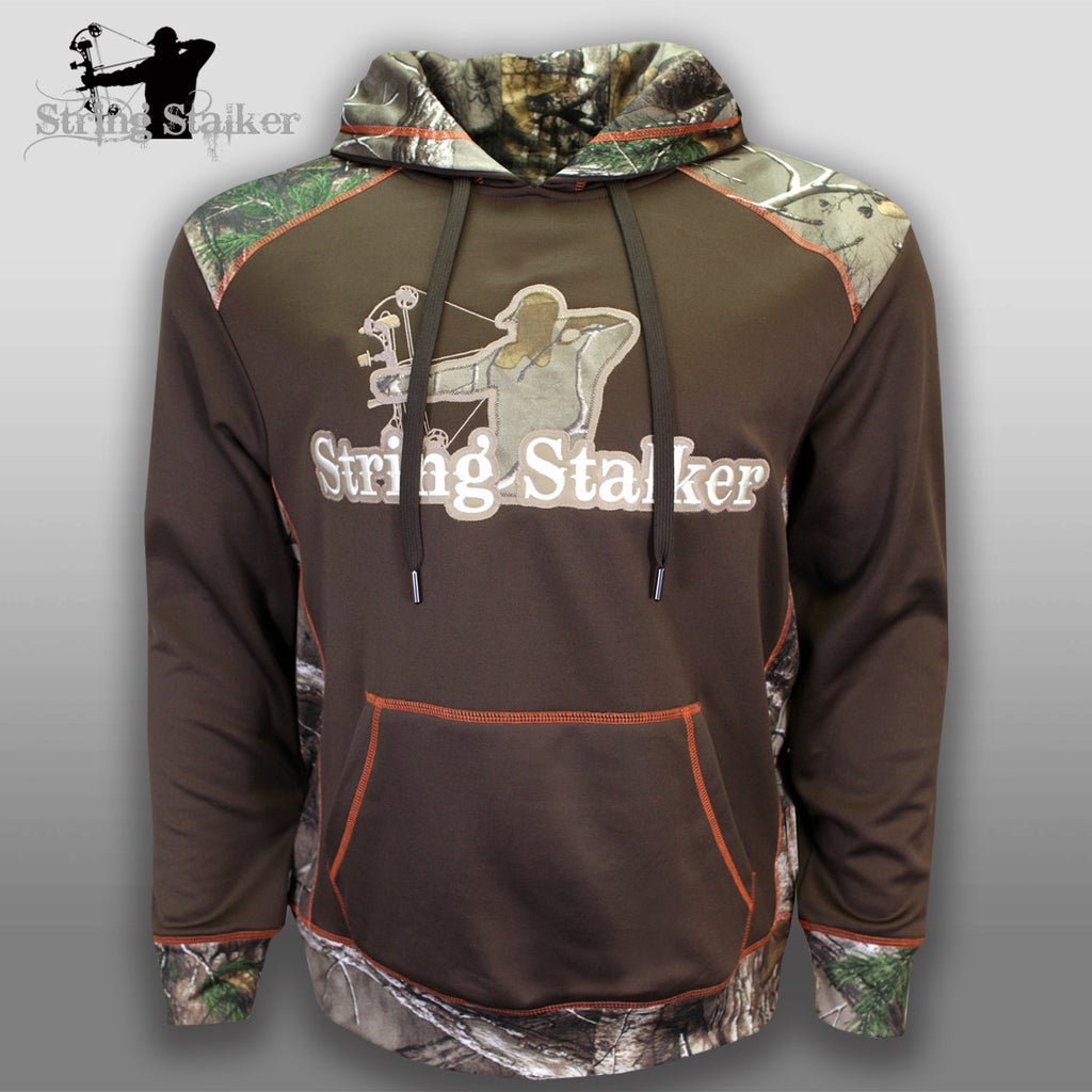 String Stalker Bow Hunting Camo Performance Hoodie - Brown - String Stalker