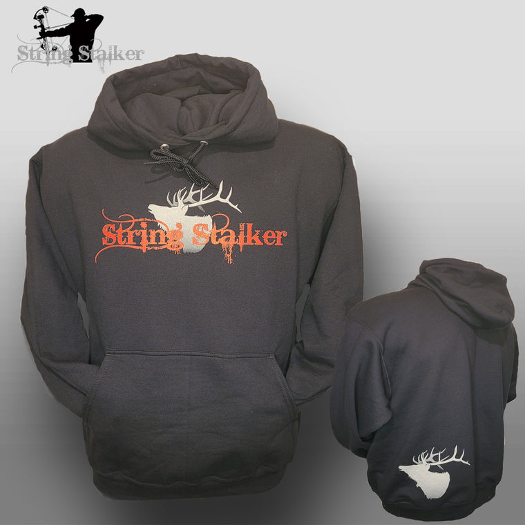 NEW!! String Stalker Bow Hunter Elk Hoodie - Black