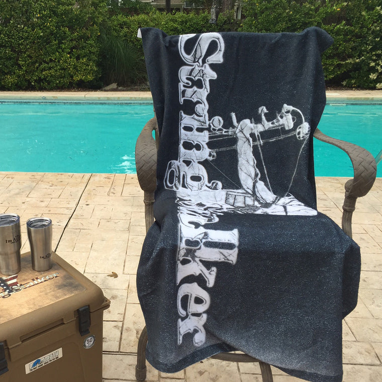 String Stalker Tree Stand Logo Beach Towel - String Stalker