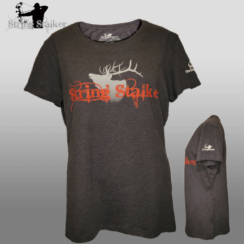 NEW!! Ladies String Stalker Elk Bow Hunting T-Shirt - Heathered Charcoal