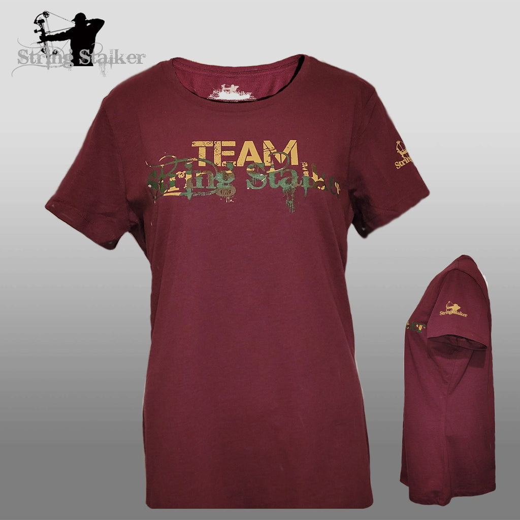 New!! Ladies Team String Stalker Bow Hunter T- Shirt - Heathered Berry