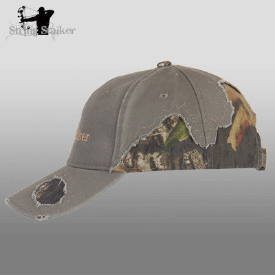 Olive String Stalker Frayed Camo Bow Hunting Lifestyle Hat in Mossy Oak - String Stalker
