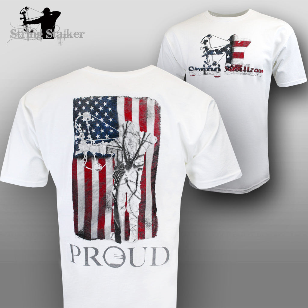 String Stalker Proud American Bow Hunter T Shirt - White - String Stalker