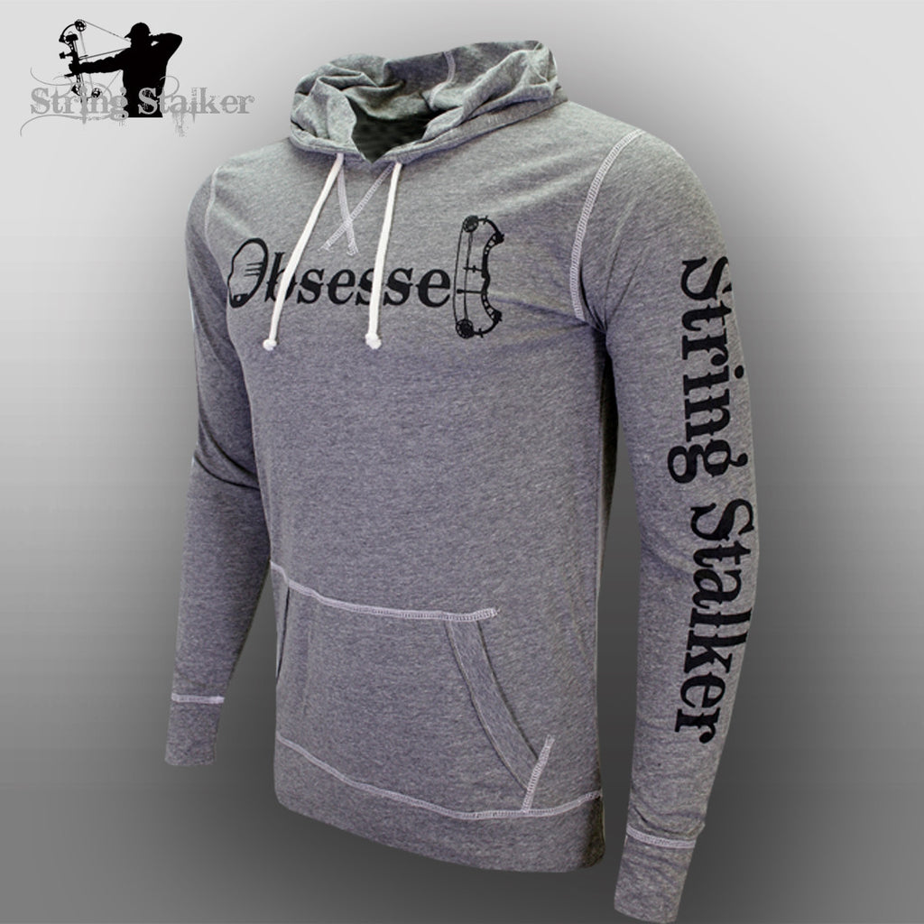 String Stalker Bow Hunting Obsessed Jersey Long Sleeve Hood Charcoal - String Stalker