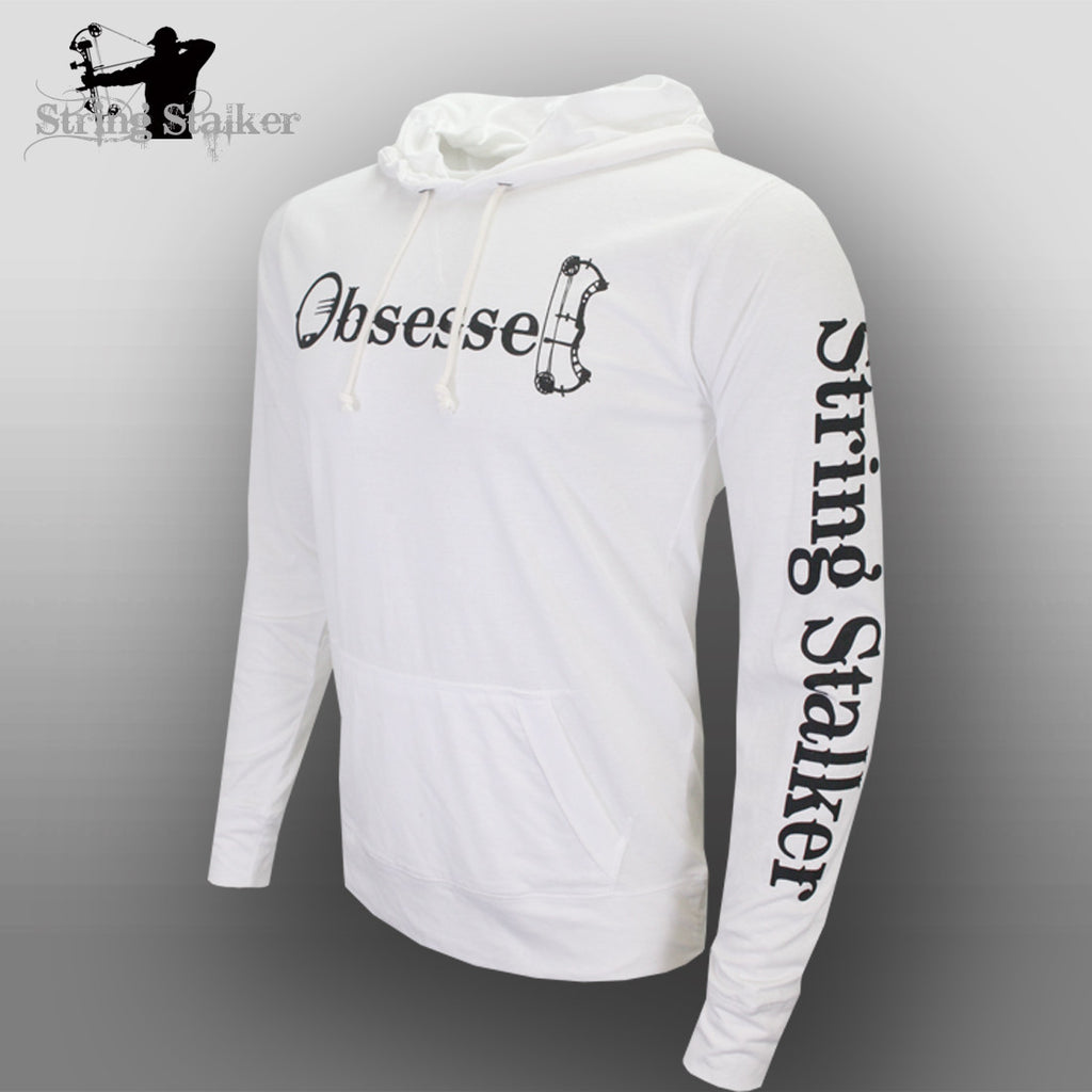 String Stalker Bow Hunting Obsessed Jersey Long Sleeve Hood White - String Stalker