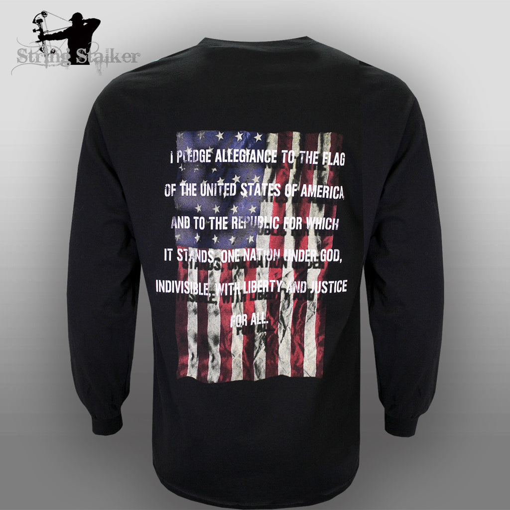 String Stalker Pledge of Allegiance Long Sleeve T Shirt Black - String Stalker