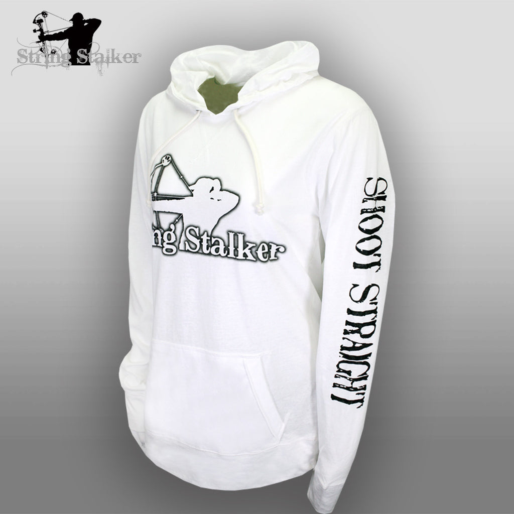 String Stalker Ladies Shoot Straight Jersey Long Sleeve Hood - White - String Stalker