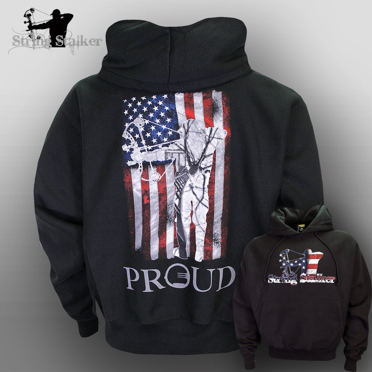 String Stalker Proud American Bow Hunter Hoodie Black Sweatshirt - String Stalker