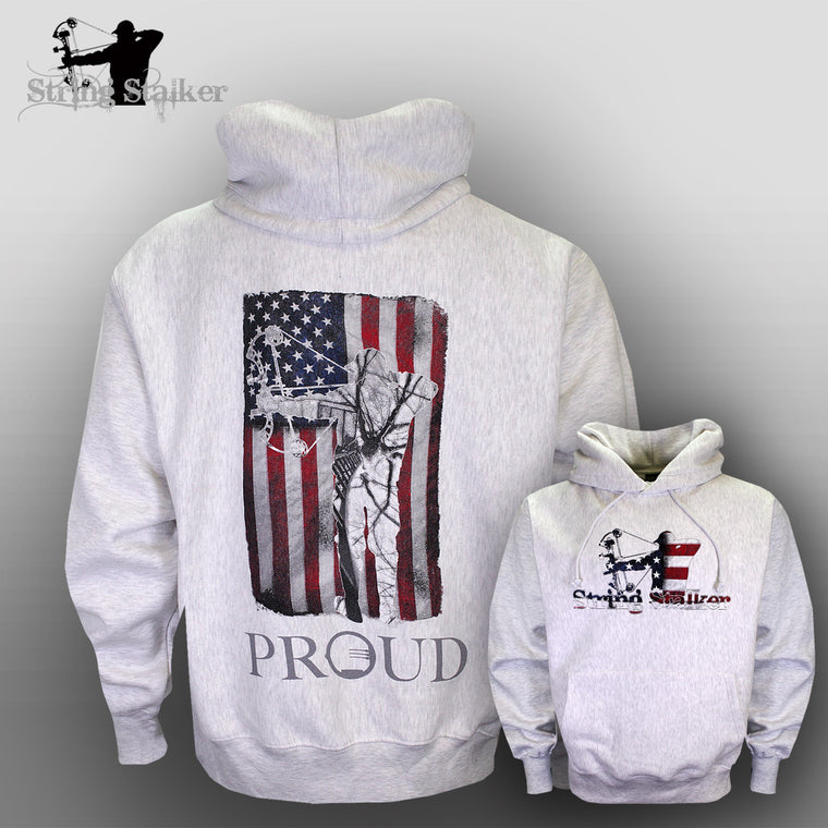 String Stalker Proud American Bow Hunter Hoodie Sweatshirt Silver Grey - String Stalker