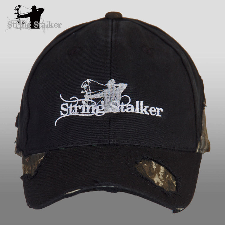 Black String Stalker Frayed Camo Bow Hunting Hat - String Stalker