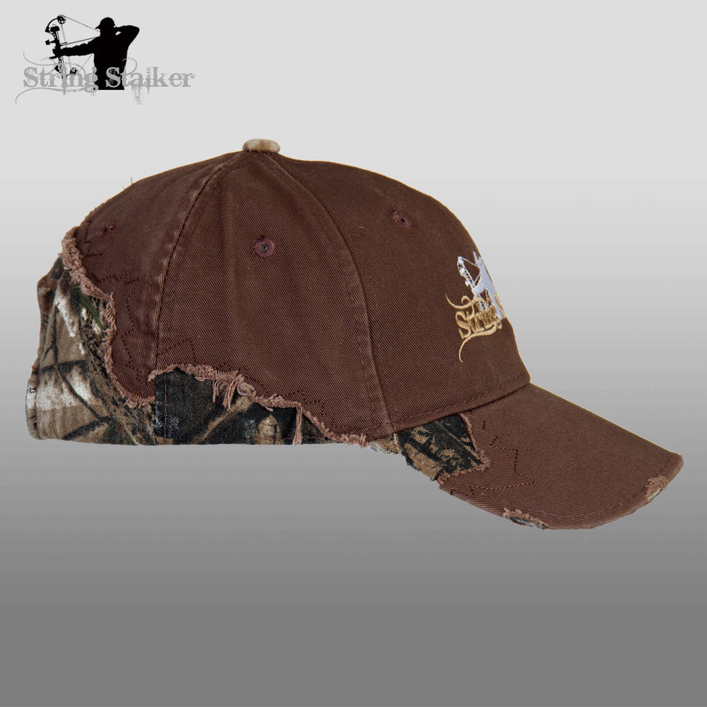Brown String Stalker Frayed Camo Bow Hunting Hat - String Stalker