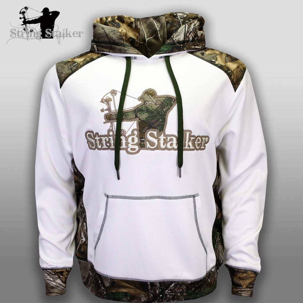 String Stalker Bow Hunting Camo Performance Hoodie - White - String Stalker