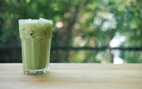 easy iced green tea matcha powder vegan latte