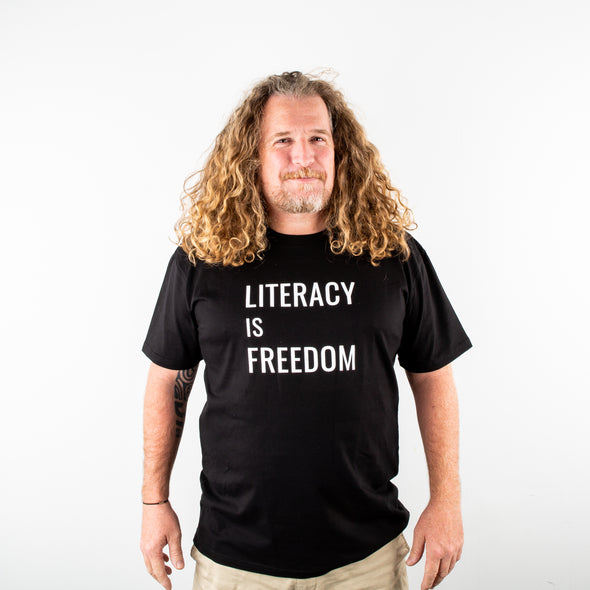 """Literacy is Freedom"" Tee - Unisex Black"