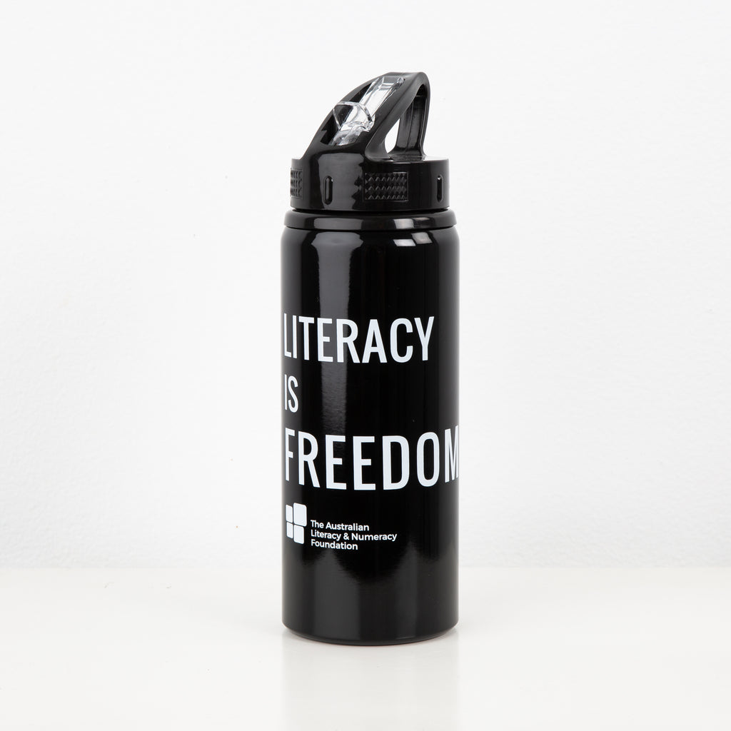 """Literacy is Freedom"" Black Drink Bottle"