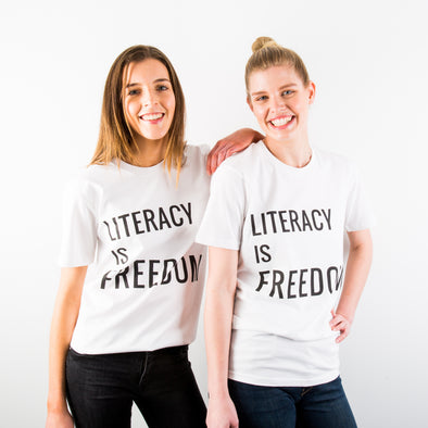 """Literacy is Freedom"" Tee - Unisex White"
