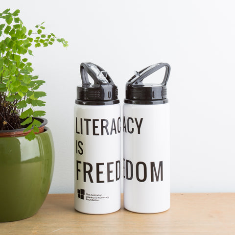 """Literacy is Freedom"" Drink Bottle"